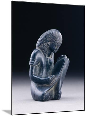Seated Scribe, New Kingdom, 1391-1353 BC (Greywacke)-Egyptian 18th Dynasty-Mounted Giclee Print