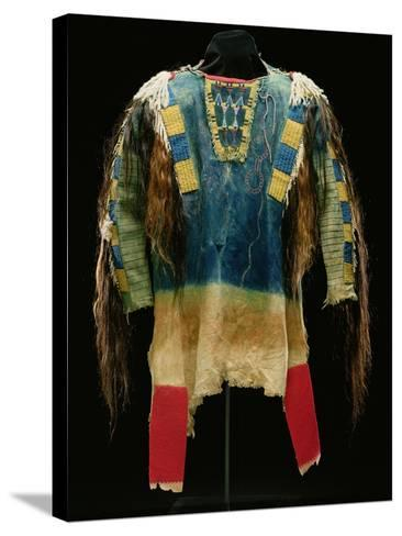 Man's Shirt, Cheyenne, C.1860 (Buckskin, Wool, Ermine Skin and Human Hair)-American-Stretched Canvas Print