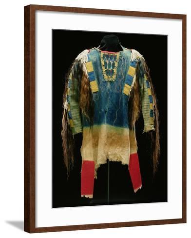 Man's Shirt, Cheyenne, C.1860 (Buckskin, Wool, Ermine Skin and Human Hair)-American-Framed Art Print