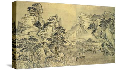 View from the Keyin Pavilion on Paradise (Baojie) Mountain, 1562 (Ink on Silk)-Wang Wen-Stretched Canvas Print