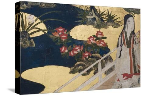 Detail of Spring in the Palace, Six-Fold Screen from 'The Tale of Genji', C.1650-Japanese-Stretched Canvas Print