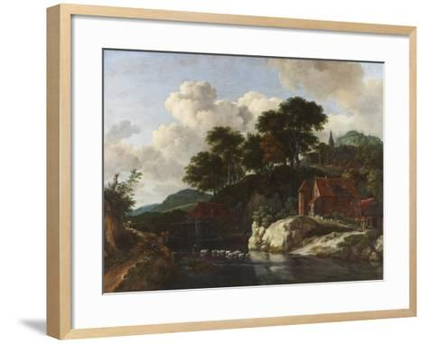 Hilly Landscape with a Watermill, c.1670-Jacob Isaaksz^ Or Isaacksz^ Van Ruisdael-Framed Art Print