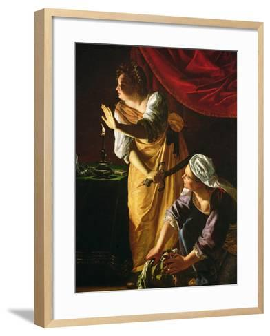 Judith and Maidservant with the Head of Holofernes, c.1625-Artemisia Gentileschi-Framed Art Print