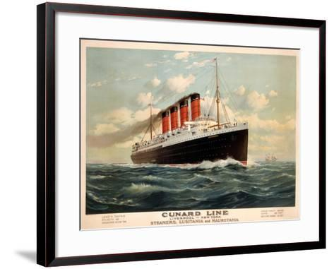 Advertisement for the Cunard Line, C.1908 (Colour Litho)-Fred Pansing-Framed Art Print