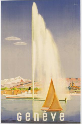 Advertisement for Travel to Geneva, C.1937 (Colour Litho)-Fehr-Stretched Canvas Print