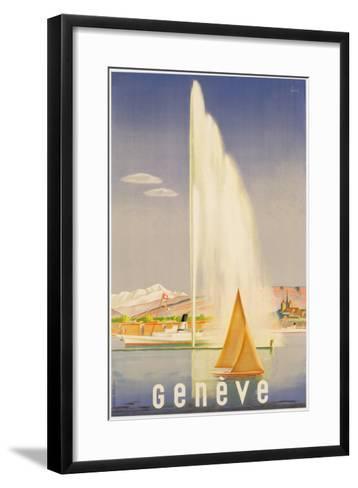 Advertisement for Travel to Geneva, C.1937 (Colour Litho)-Fehr-Framed Art Print