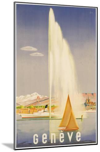 Advertisement for Travel to Geneva, C.1937 (Colour Litho)-Fehr-Mounted Giclee Print