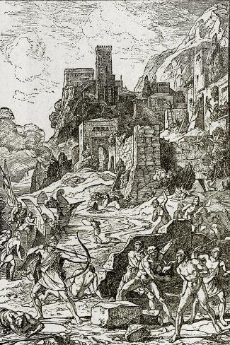 Vikings Attacking the Celts, Illustration from 'The Story of Man' by J.W. Buel (Litho)--Stretched Canvas Print