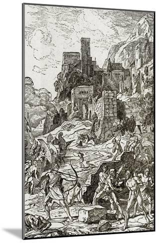 Vikings Attacking the Celts, Illustration from 'The Story of Man' by J.W. Buel (Litho)--Mounted Giclee Print