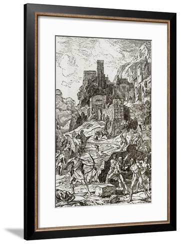 Vikings Attacking the Celts, Illustration from 'The Story of Man' by J.W. Buel (Litho)--Framed Art Print