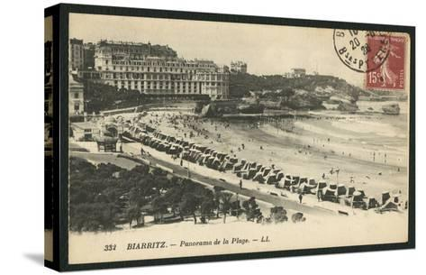 Postcard Depicting the Grande Plage of Biarritz, C.1900 (B/W Photo)-French Photographer-Stretched Canvas Print