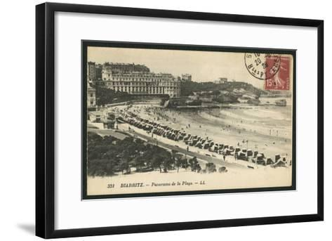 Postcard Depicting the Grande Plage of Biarritz, C.1900 (B/W Photo)-French Photographer-Framed Art Print