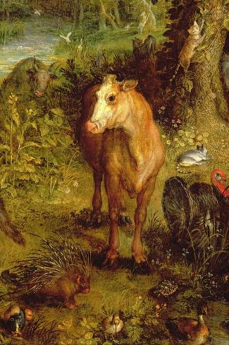 Earth or the Earthly Paradise, Detail of a Cow, Porcupine and Other Animals, 1607-08-Jan Brueghel the Elder-Stretched Canvas Print