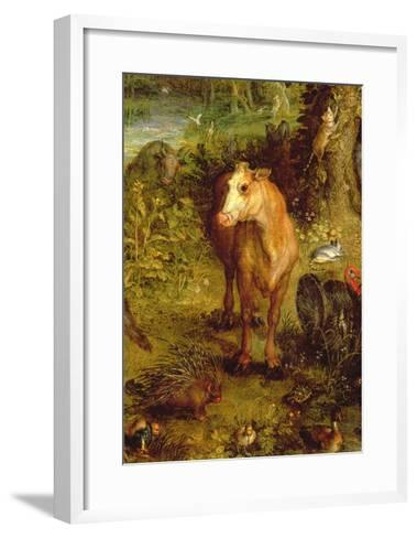 Earth or the Earthly Paradise, Detail of a Cow, Porcupine and Other Animals, 1607-08-Jan Brueghel the Elder-Framed Art Print