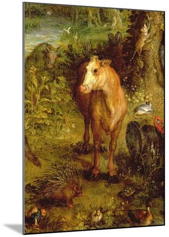 Earth or the Earthly Paradise, Detail of a Cow, Porcupine and Other Animals, 1607-08-Jan Brueghel the Elder-Mounted Giclee Print