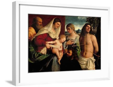 Sacra Conversatione with Ss. Catherine, Sebastian and Holy Family (Oil on Panel)-Sebastiano del Piombo-Framed Art Print