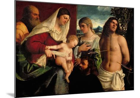 Sacra Conversatione with Ss. Catherine, Sebastian and Holy Family (Oil on Panel)-Sebastiano del Piombo-Mounted Giclee Print