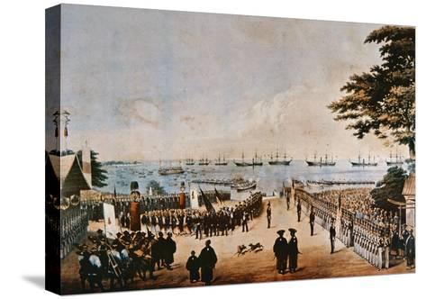 Commodore Perry Lands in Japan to Meet the Imperial Commissioners at Yokohama, 8th March 1854-Wilhelm Heine-Stretched Canvas Print