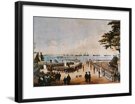 Commodore Perry Lands in Japan to Meet the Imperial Commissioners at Yokohama, 8th March 1854-Wilhelm Heine-Framed Art Print