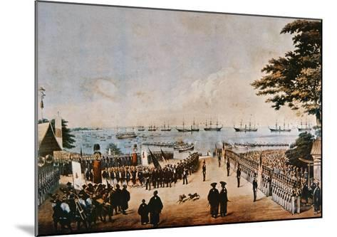 Commodore Perry Lands in Japan to Meet the Imperial Commissioners at Yokohama, 8th March 1854-Wilhelm Heine-Mounted Giclee Print