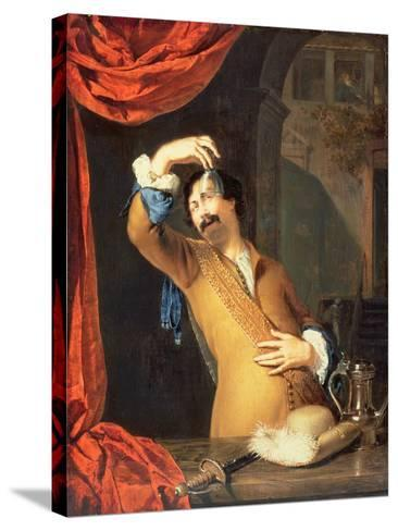 T31553 a Cavalier Standing at a Window Examining a Roemer (Panel)-Willem Van Mieris-Stretched Canvas Print