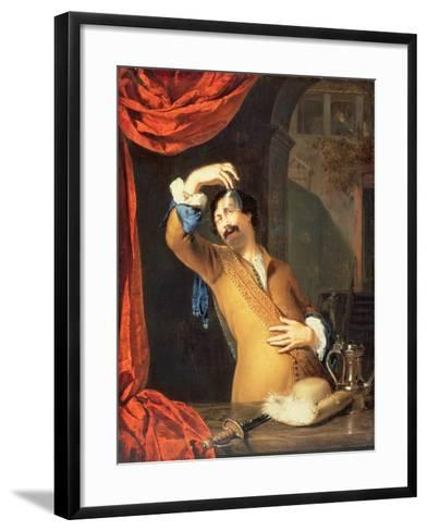 T31553 a Cavalier Standing at a Window Examining a Roemer (Panel)-Willem Van Mieris-Framed Art Print