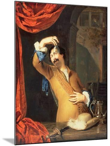 T31553 a Cavalier Standing at a Window Examining a Roemer (Panel)-Willem Van Mieris-Mounted Giclee Print