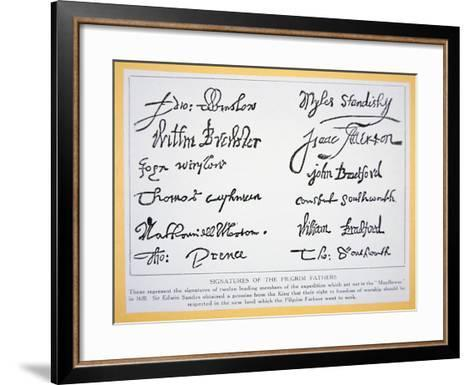 Signatures of the Pilgrim Fathers on the 'Mayflower Compact' of 1620 (Litho)-American-Framed Art Print