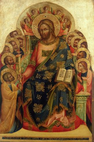 Christ Enthroned with Saints and Angels Handing the Key to St. Peter-Veneziano Lorenzo-Stretched Canvas Print