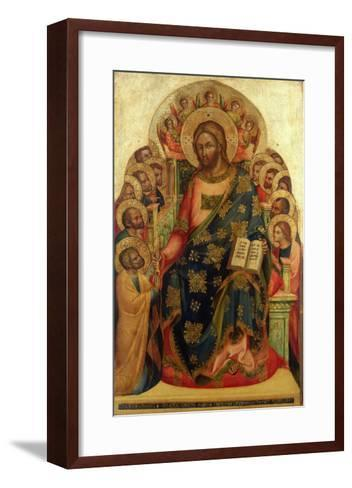 Christ Enthroned with Saints and Angels Handing the Key to St. Peter-Veneziano Lorenzo-Framed Art Print