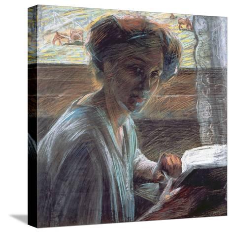 Woman Reading, 1909-Umberto Boccioni-Stretched Canvas Print