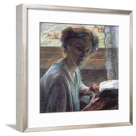Woman Reading, 1909-Umberto Boccioni-Framed Art Print