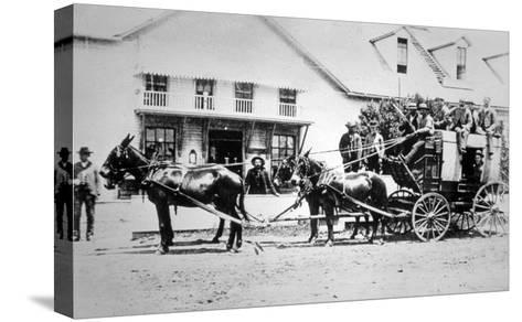 Fully-Loaded Stagecoach of the Old West, C.1885 (B/W Photograph)-American Photographer-Stretched Canvas Print