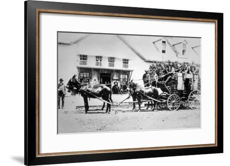 Fully-Loaded Stagecoach of the Old West, C.1885 (B/W Photograph)-American Photographer-Framed Art Print