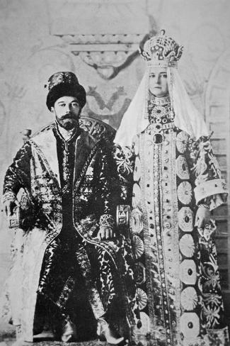 Tsar Nicholas Ii and Tsaritsa Alexandra in Full Coronation Regalia, May 1896 (B/W Photo)-Russian Photographer-Stretched Canvas Print