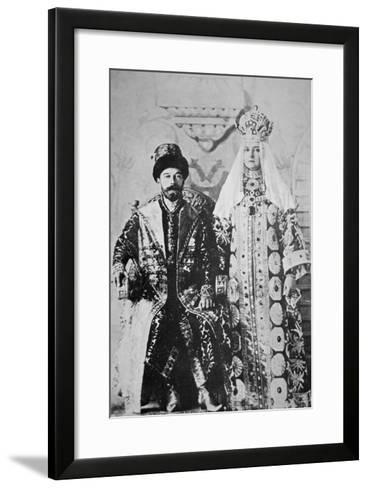Tsar Nicholas Ii and Tsaritsa Alexandra in Full Coronation Regalia, May 1896 (B/W Photo)-Russian Photographer-Framed Art Print