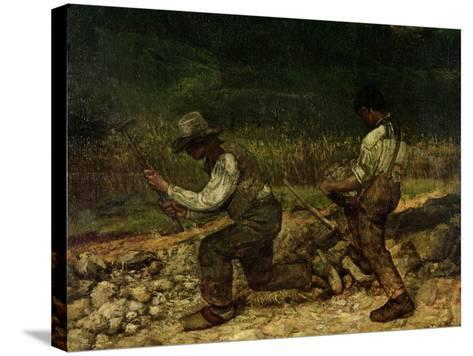 The Stonebreakers (Oil)-Gustave Courbet-Stretched Canvas Print