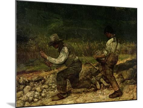 The Stonebreakers (Oil)-Gustave Courbet-Mounted Giclee Print