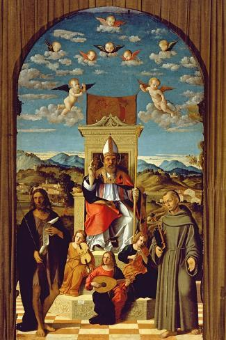 St. Thomas a Becket (1118-70) Enthroned with Ss. Francis and John the Baptist 1520 (Oil on Panel)-Girolamo da Santacroce-Stretched Canvas Print