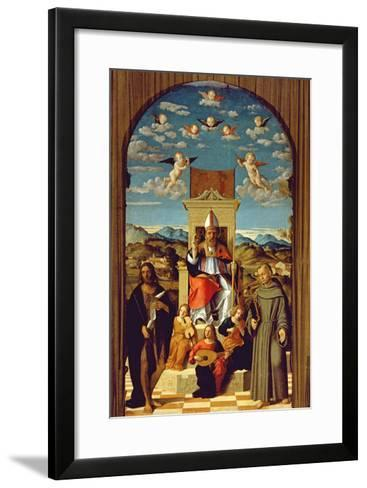 St. Thomas a Becket (1118-70) Enthroned with Ss. Francis and John the Baptist 1520 (Oil on Panel)-Girolamo da Santacroce-Framed Art Print