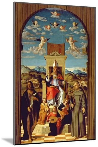 St. Thomas a Becket (1118-70) Enthroned with Ss. Francis and John the Baptist 1520 (Oil on Panel)-Girolamo da Santacroce-Mounted Giclee Print