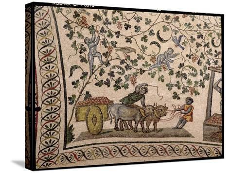 The Grape Harvest (Mosaic)-Roman-Stretched Canvas Print