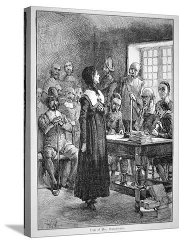 Anne Hutchinson on Trial for Offending the Puritan Clergy in Massachusetts (Litho)-American-Stretched Canvas Print