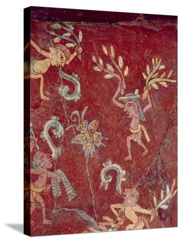 Fresco from the Palace of Tepantitla (Fresco) 407318 Little Figures- Teotihuacan-Stretched Canvas Print