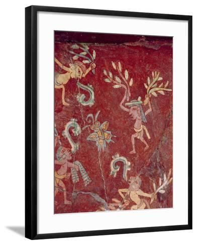 Fresco from the Palace of Tepantitla (Fresco) 407318 Little Figures- Teotihuacan-Framed Art Print