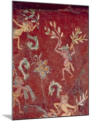 Fresco from the Palace of Tepantitla (Fresco) 407318 Little Figures- Teotihuacan-Mounted Giclee Print