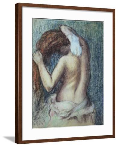 Femme a Sa Toilette, C.1895 (Pastel on Paper)-Edgar Degas-Framed Art Print