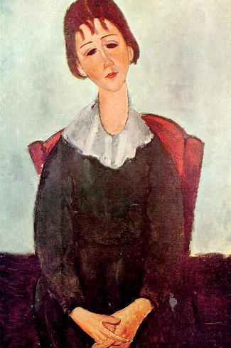 Girl in Black, 1918-Amedeo Modigliani-Stretched Canvas Print