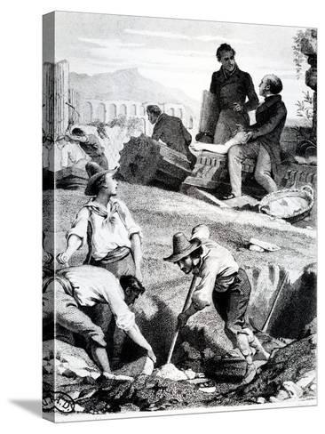 The Excavations at Torre Vergata, from 'Memoires D'Outre-Tombe' by Chateaubriand, 1850 (Litho)-Felix Philippoteaux-Stretched Canvas Print