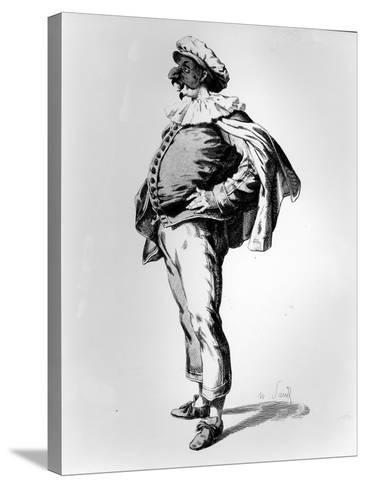 Polichinelle, Depicted in the Stage Costume of 1685, 1860 (Litho)-Maurice Sand-Stretched Canvas Print